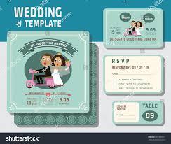 Electronic Wedding Invitation Cards Cute Groom Bride Character Wedding Invitation Stock Vector