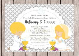 Invitation Card For Holy Communion Printable First Holy Communion Invitation For Siblings Twins