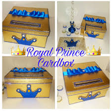 Blue And Gold Baby Shower Decorations by Royal Prince Card Boxgold Card Boxblue Card Boxcrown Card