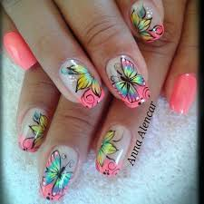 amazing butterflies and flowers nail design idea
