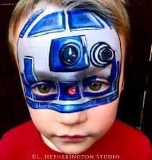 cool face painting for halloween r2d2 by lynn hetherington becker of l hetherington studio