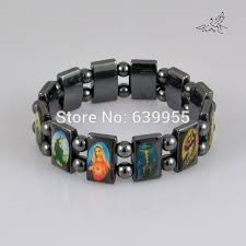 religious jewelry stores 18mm black hematite rosary bracelet jesus saints angel