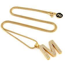 gold necklace with letter images 14k gold letter quot m quot necklace gold initial pendant necklaces jpg
