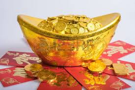 new year gold coins ang pow stock photo picture and