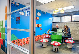 this super mario themed meeting room is part of an entire office