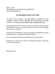 Sample Letter Of Intent To Purchase Equipment by Pldt Authorization Letter Sample