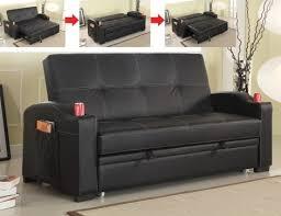 black leather like vinyl upholstered folding futon sofa bed with