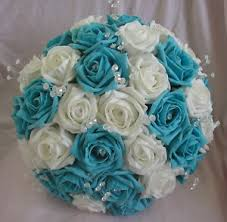 wedding flowers ebay artificial turquoise white foam wedding flowers brides