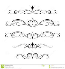 black decorative curly elements and ornaments stock vector image