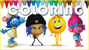 emoji movie smurfs and trolls coloring kids coloring book