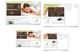 day spa postcard template design