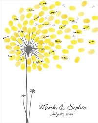 anniversary guest book wedding guest book dandelion fingerprint anniversary poster baby