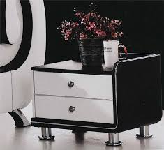 black and white side table pu leather black white bedside table