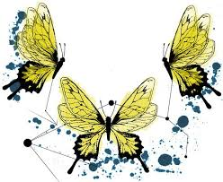 abstract yellow watercolor butterflies and geometric drawings