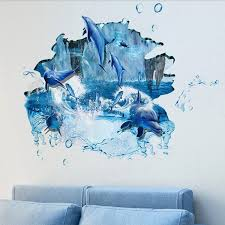 removable 3d dolphin wall stickers for bathroom waterproof blue