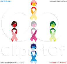 clipart of a cross made of colorful cancer awareness ribbon