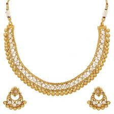 gold beaded necklace set images Adwitiya 24k gold plated kundan golden bead studded floral jpg