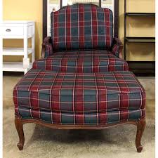 ethan allen plaid bergere chair with ottoman upscale consignment