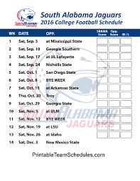 printable bulls schedule south alabama jaguars 2016 college football schedule print here