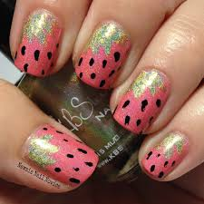 strawberry nails with kbshimmer newsie nail novice
