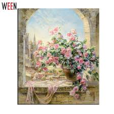window flowers scene painting by numbers diy kits wall pictures
