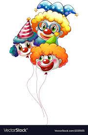 clown baloons three colourful clown balloons royalty free vector image