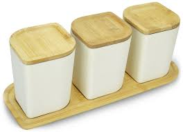 canister jar set bamboo airtight lid tray 3 kitchen fiber storage