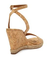 tory burch marion quilted cork wedge sandals in metallic lyst