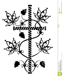 rock black cross with flowers ornament stock illustration