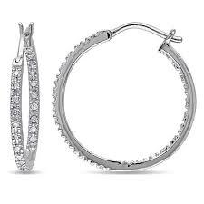 white gold hoops 10k white gold 0 25ctw white diamond hugger hoop earrings