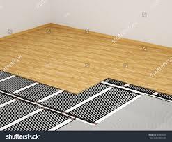 Under Laminate Floor Heating Concept Heating System Heating Film Interior Stock Illustration