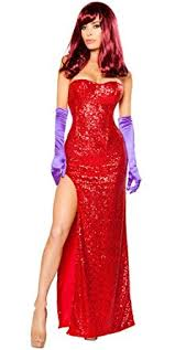 Halloween Costume Jessica Rabbit Amazon Women U0027s Jessica Rabbit Halloween Costume Clothing