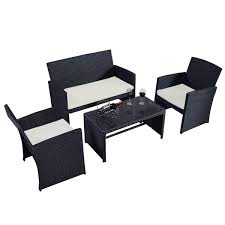 Garden Furniture Sets 4 Pcs Patio Garden Wicker Rattan Cushioned Sofa Outdoor