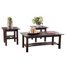 Ashley Furniture Side Tables 3 Piece Table Set Madison Collection 3piece Teak Nesting Table