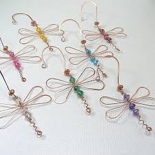 Dragonfly Garden Art Dragonfly Ornament Copper Green Glass Wire Wrapped Sun Catcher
