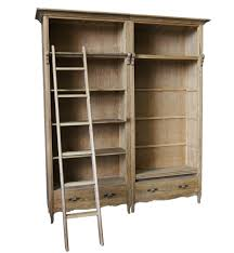 French Provincial Furniture by French Provincial Library Bookcase In Natural Oak With Ladder