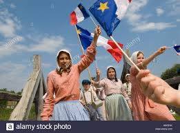 New Brunswick Flag Acadian Village In Caraquet New Brunswick With Children Dressed Up