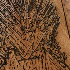 of thrones carved wooden poster got iron throne wood wall