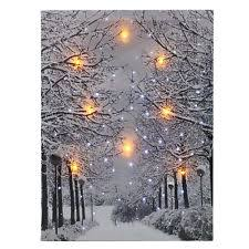 luminous led snow tree lighted canvas print painting wall