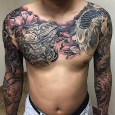 black ink koi fish with flowers on chest