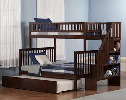 twin over full bunk bed with stairs and trundle u2014 modern storage