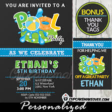 pool birthday invitation for boys chalkboard personalized