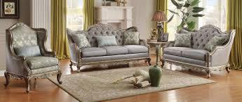 Traditional Leather Sofa Set Sofas Center Esther Ivory Microfiber Crystal Tufted Sofa Set