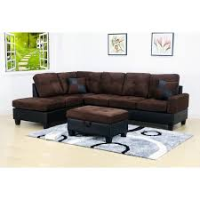 evelyn 3 pc microfiber left facing chaise sectional set with