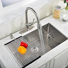 VAPSINT Commercial  Inch  Gauge  Inch Deep Handmade Drop In - Kitchen sink with drying rack