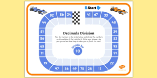 dividing by 10 decimals race worksheet dividing decimals