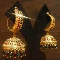 punjabi jhumka earrings jadau dandi jhumki earring view specifications details of gold