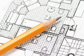 pencil over house plan blueprints stock photo picture and royalty