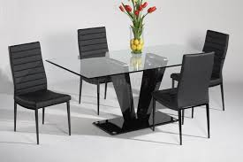 Modern Glass Kitchen Table Glass Top U0026 Black Gloss Base Dining Table W Optional Chairs