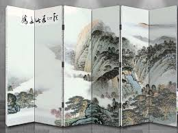 oriental style 6 panel foldable shoji screen room divider chinese